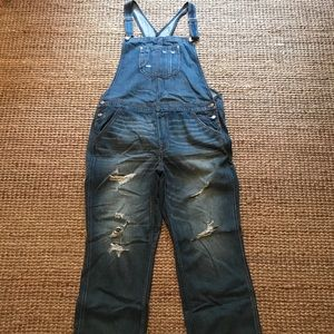 AEO Destroyed Jean Overalls Sz XL
